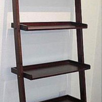 Leaning Ladder Shelf 5 Tier Wood Storage Bookcase Shelves Book Case Storage New