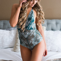 Here Comes Summer T Back Two Toned Lace Bodysuit (Dark Green/Silver)
