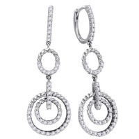 Diamond Fashion Earrings in 14k White Gold 0.75 ctw