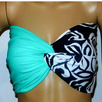 Bikini Top. Mint and floral Twisted bikini top, Swimsuit top, Spandex swimsuit top, bandeau top.