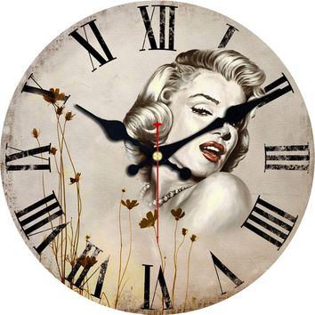 Marilyn Monroe Wall Clock Woman Design Fashion Silent Living Room Wall Decor  Christmas Gift