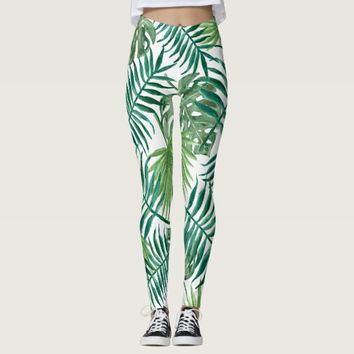 Leaves Tree Branches Foliage Print Leggings