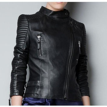 Crazy promotion 2016 famous for the women's high quality sheepskin motorcycle jacket 100% genuine leather clothing coat S - 2XL