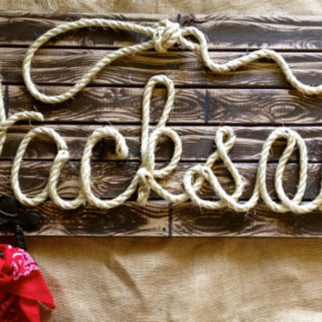 "JACKSON: 36"" Western Rope Name Sign Cowboy Theme Room Nursery- Brown Wood Grain Finish- (003)"