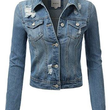 DRESSIS Womens Slim Fit Cropped Demin Jean Jacket