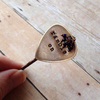 "Metal Guitar Pick ""Ramble On"" Bobby Pin, Led Zeppelin Hand Stamped"