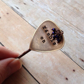 """Metal Guitar Pick """"Ramble On"""" Bobby Pin, Led Zeppelin Hand Stamped"""