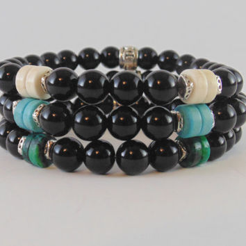Mens bracelet, beaded bracelet made with onyx ,blue turquoise, white turquoise, Chrysocolla, Stretch bracelet, black,free shipping, gift