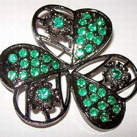 Shamrock Green Rhinestone Brooch Pin St Patricks Day Black Enamel 2 in Vintage