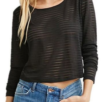 Black Striped Grenadine Patchwork Round Neck See-through Casual Crop T-Shirt