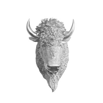 The Yellowstone | Mini Buffalo Bison Head | Faux Taxidermy | Silver Resin