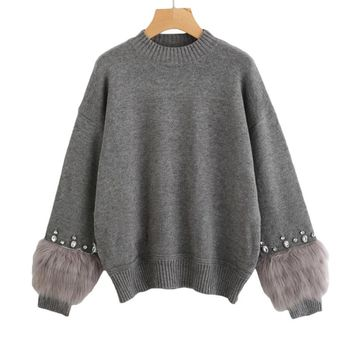 Rhinestone Ans Faux Fur Sweater