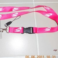 NIKE Fuchsia PINK LANYARD KEY CHAIN QR W/ ID HOLDER