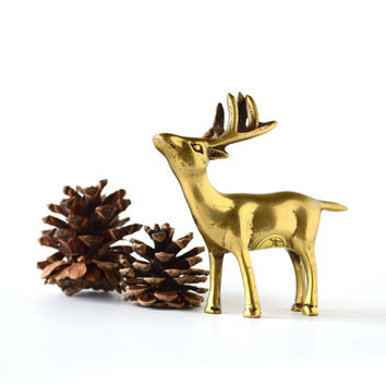 Vintage Brass Deer Figurine Holiday Decor