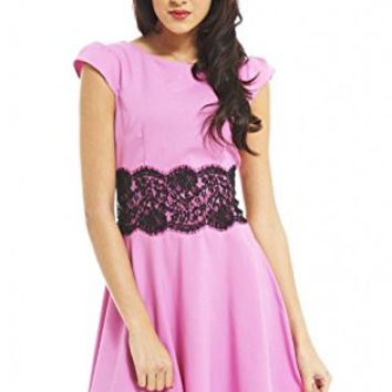 Light Pink Capped Sleeve Lace Waist Skater Dress