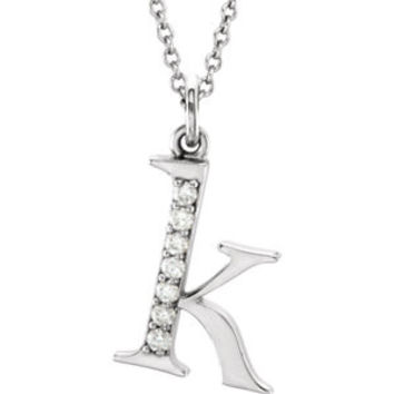 """14K Yellow .03 CTW Diamond Lowercase Letter """"a"""" Initial 16"""" Necklace"""