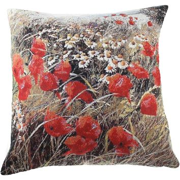 Wild Flowers in Bloom Decorative Pillow Cushion Cover