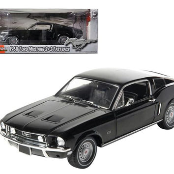 1968 Ford Mustang GT 2+2 Fastback Black Limited Edition 1 of 1800 Produced Worldwide 1-18 Diecast Model Car by Greenlight
