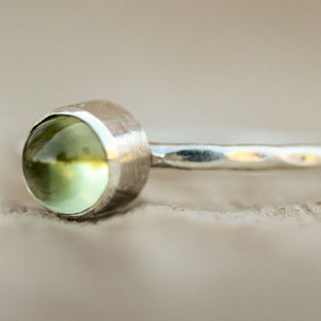 Peridot Gemstone Stacking Ring - Hammered Gemstone Stacking Ring Set in Recycled Sterling Silver Bezel and Band - Beachcomber Collection