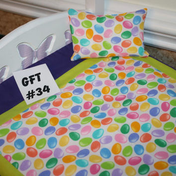 """American Girl sized, reversible doll bed quilt 18"""" x 21"""" with matching pillow 4"""" x 6"""""""