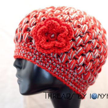 Crochet Bubble Hat - Ohio State, Buckeyes, Red and Grey, Womens Fashion, Winter Accessories - Holiday Gift
