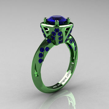 Classic French Military 14K Green Gold 1.0 Ct Blue Sapphire Engagement Ring Wedding Ring R502-14KGGBS