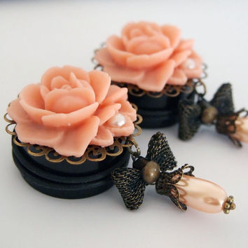 1 3/16 inch 30mm Peach Princess Plugs For Stretched by Glamsquared