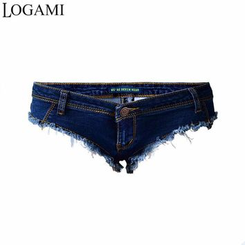 LOGAMI Shorts Micro Sexy Hot Mini Denim Shorts Women Low Waist Summer Jeans Short Feminino 2017