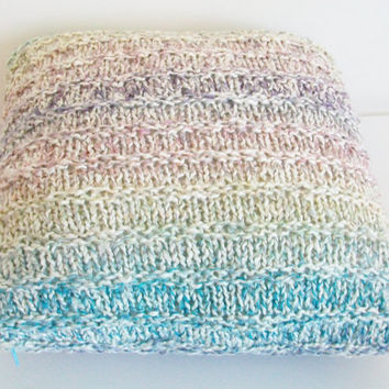 Pillow Cover Striped Multi Color Knitted Pillow Cover 15X15 Modern Casual  Shabby Beach Chic