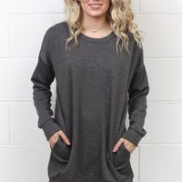 Oversized Sweatshirt Tunic w/ Pockets {Charcoal}