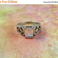 Vintage Solitaire Ring Size 8 Sterling Silver Single Clear Emerald Cut Crystal Glass Stone Filigree Openwork Style Shank Pretty Ring