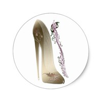 Rhapsody in Gold Stiletto Shoe Art Classic Round Sticker