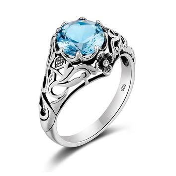 Summer Bloom Natural Aquamarine Sterling Silver Ring