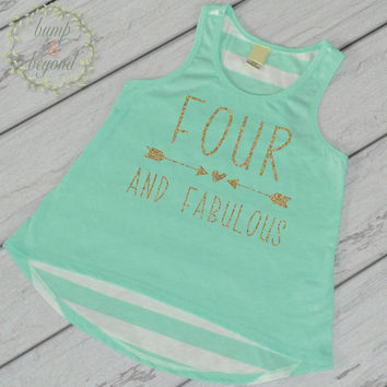 Four and Fabulous Trendy Kids Clothes Girl 4th Birthday Shirt Birthday Girl Tank Top Fourth Birthday Shirt 182