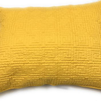 Tache Solid Yellow Brick Road Quilted Standard Queen Pillow Sham, 1 Piece 20x30 (DXJ103440)