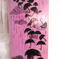 Acrylic Original Painting Taken Away Purple Sky Black Umbrellas 22X11""
