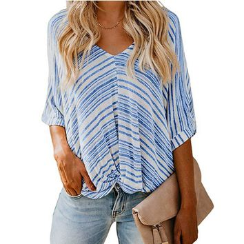 New Women Striped Blouse Batwing Half Sleeve V-Neck Tops Tunic Summer Autumn Loose Baggy Ladies Shirts Plus Size 2XL Blusas