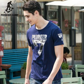 Pioneer Camp New Arrival Summer Men T-shirt Short Sleeve Cotton Tops O-neck Male Tee Plus Size for Big and Tall Dark Blue 655007