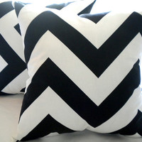 Wide chevron pillow cover,  white black pillow cover, 18 x 18