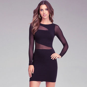 Black Irregular Cutout Mesh Long Sleeves Bodycon Dress