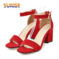 Flock Women Sandals High Block Square Heels Open Toe Casual Party Summer Faux Suede Buckle Ankle Strap Faux Suede Ladies Sandals