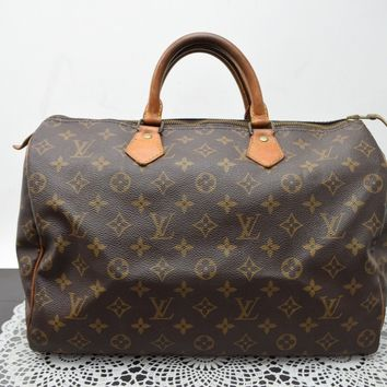 Authentic Louis Vuitton Hand Bag Speedy 35 M41524 Browns Monogram 41179
