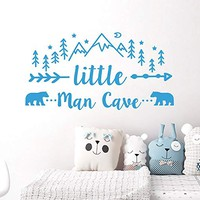 Wall Decals Quotes Little Man Cave. Arrow Man Cave Stickers. Rustic Wall Decal. Mountain Nursery Bedroom NV268