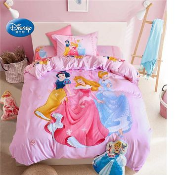 Snow White Princess 3D Bedding Set Children's Girls Kid Flat Sheet Bed Cover Woven Bedroom Decor Duvet Cover Set