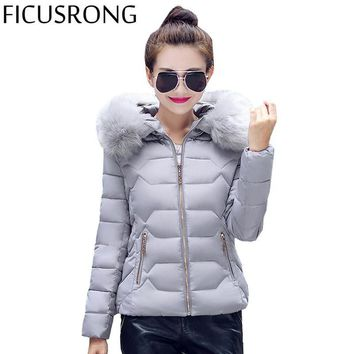 FICUSRONG Womens Winter Jackets And Coats Women's Parkas Thick Warm Faux Fur Collar Hooded Anorak Ladies Jacket Female FR966