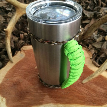 Lime Green/Camo Paracord Yeti 20 oz. Rambler Handle Grip