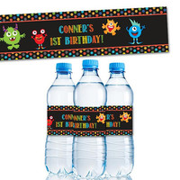 Monster Water Bottle Labels - Monster Birthday Water Labels -  Boy Chalk Monster Labels - Monster 1st Birthday Party Favors - Party Decor
