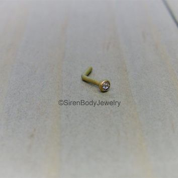Titanium L bend nose piercing stud 18g 2mm CZ gemstone clear petite nostril jewelry hypoallergenic