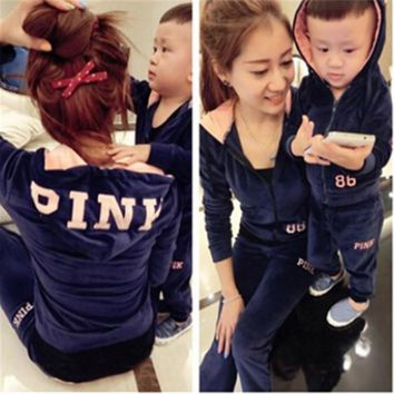 2016 autumn family clothing sets monther daughter son velvet sports wear