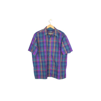 vintage mens short sleeve plaid button down shirt / purple + teal / size L - XL